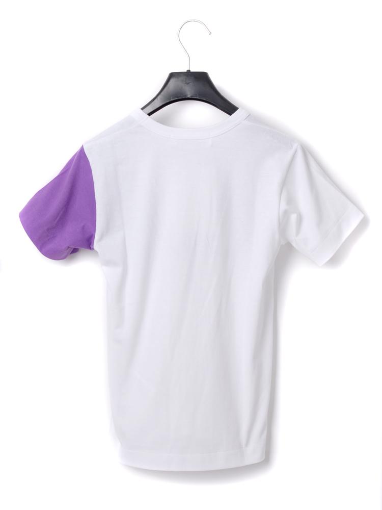 cdg 紫色袖口tee 白