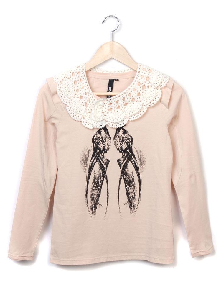 田园风手绘鸟类印花长袖t恤