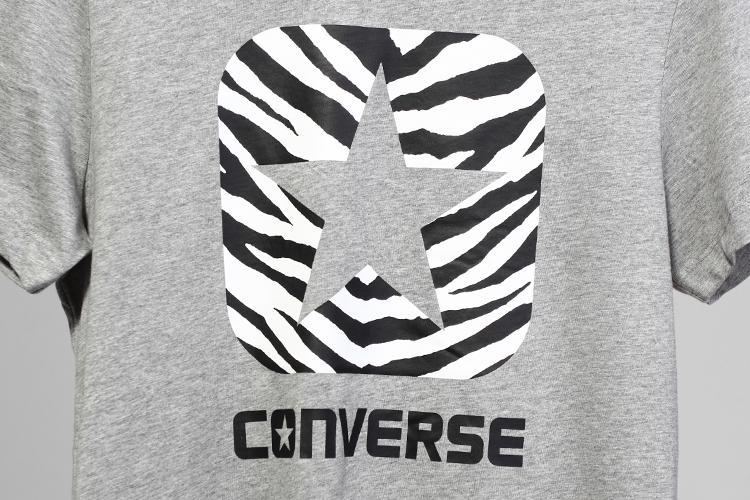 converse T恤 Converse 斑马纹logo印花短T正品
