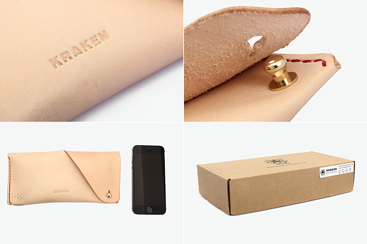 kraken原创设计牛皮眼镜保护套眼镜盒手包零钱包卡包头层植鞣手工缝