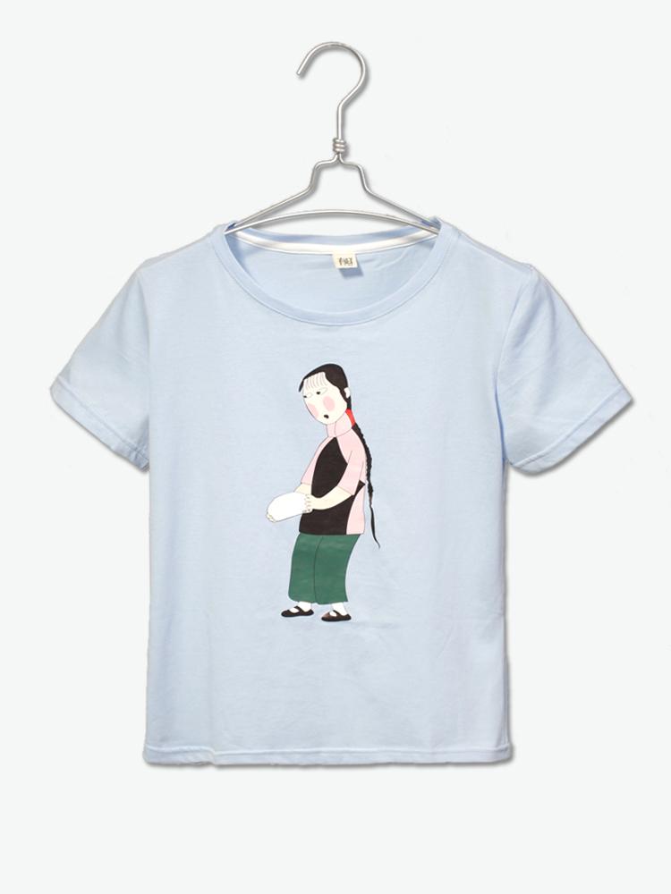 有耳uare t恤|有耳uare简约可爱手绘人物图案烫图t恤
