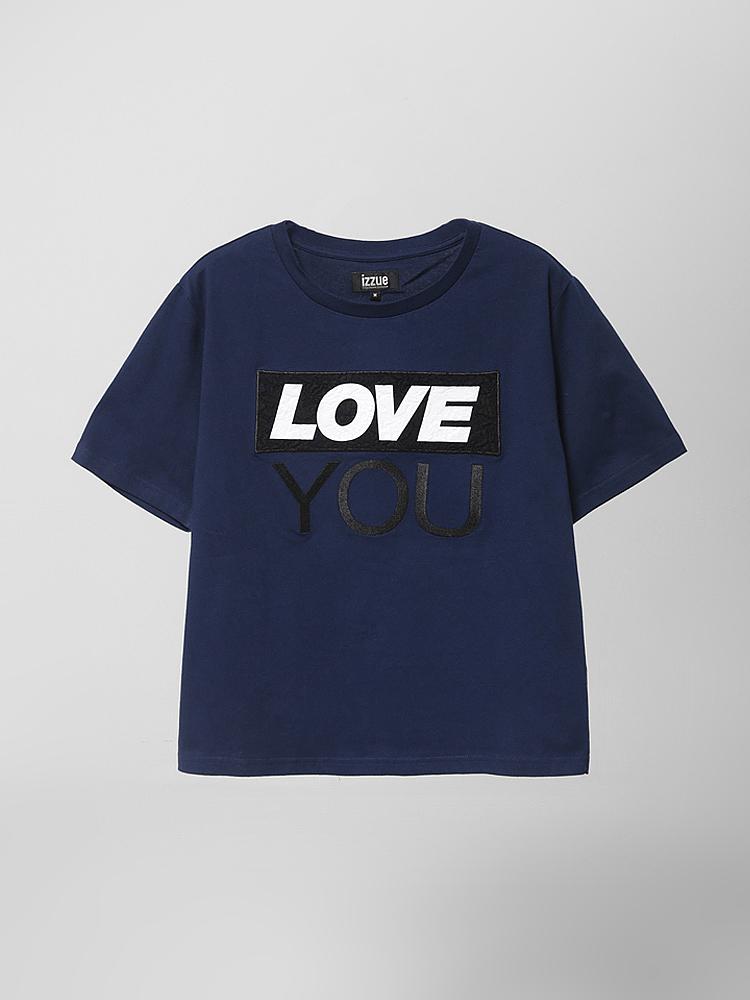 """印花 t恤           标准剪裁的圆领短袖t恤,前幅印制""""love you""""字样"""