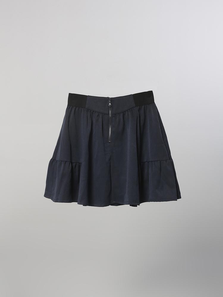 拉链宽腰半身裙
