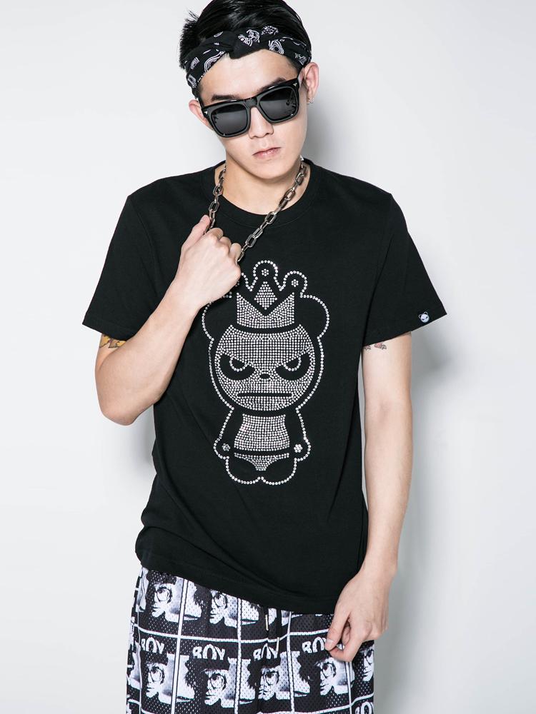 钻��gd_hipanda t恤|hipanda 皇冠熊猫镶钻短袖t恤 男款正品