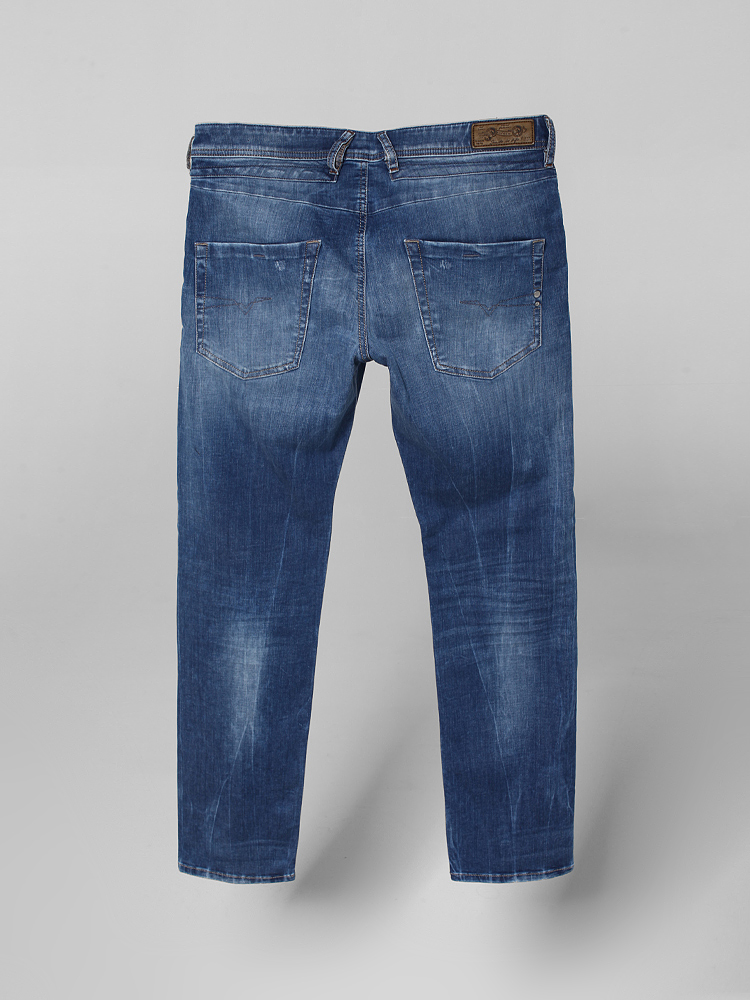diesel 简约猫抓痕直筒牛仔裤