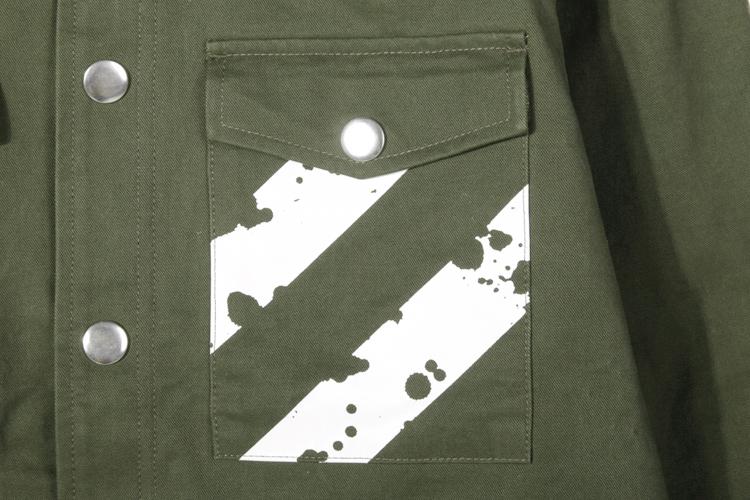 gaws 夹克|gaws 黑白泼墨斜条纹印花夹克正品 |yoho!