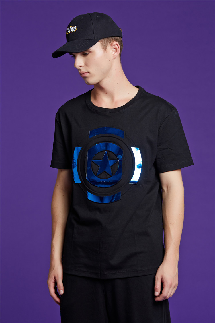 visible t恤|visible漫威系列美队盾牌图案短袖t恤 |!